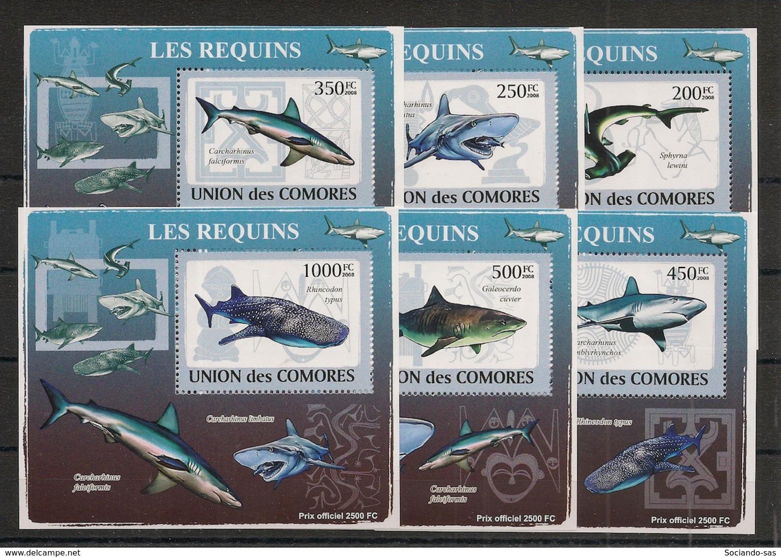 Comores - 2009 - KLB N°Yv. 1483 à 1488 - Requins - Neuf Luxe ** / MNH / Postfrisch - Mammifères Marins