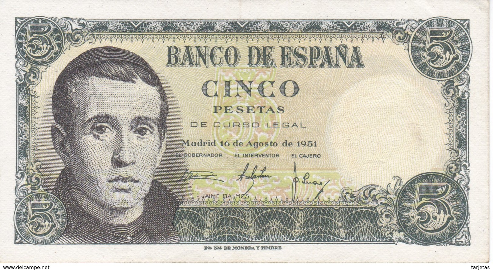BILLETE DE ESPAÑA DE 5 PTAS DEL 16/08/1951 SERIE A  EN CALIDAD EBC  (XF)   (BANKNOTE) - [ 3] 1936-1975 : Régimen De Franco