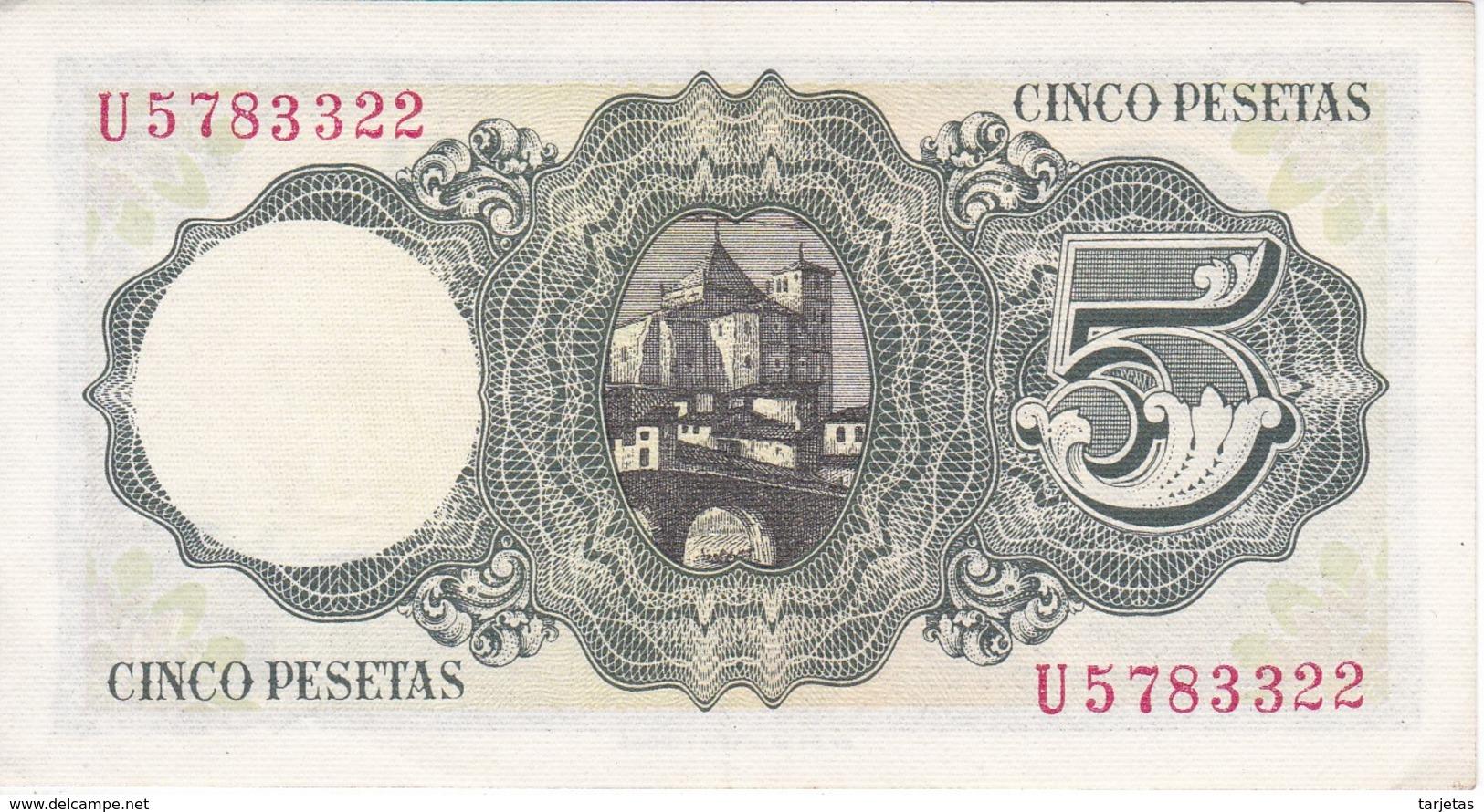 BILLETE DE ESPAÑA DE 5 PTAS DEL 16/08/1951 SERIE U EN CALIDAD EBC  (XF)    (BANKNOTE) - [ 3] 1936-1975 : Régimen De Franco