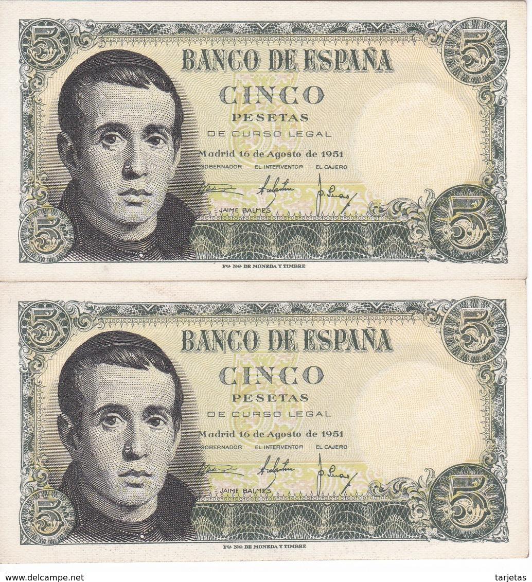 PAREJA CORRELATIVA DE 5 PTAS DEL 16/08/1951 SERIE T (SIN CIRCULAR-UNCIRCULATED)   (BANKNOTE) - [ 3] 1936-1975 : Régence De Franco
