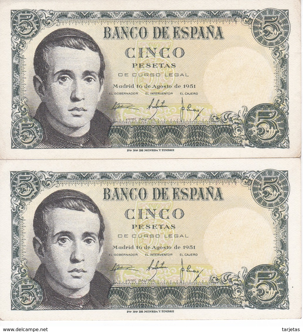 PAREJA IMPAR DE 5 PTAS DEL 16/08/1951 SERIE Q (SIN CIRCULAR-UNCIRCULATED)  (BANKNOTE) - [ 3] 1936-1975 : Régimen De Franco