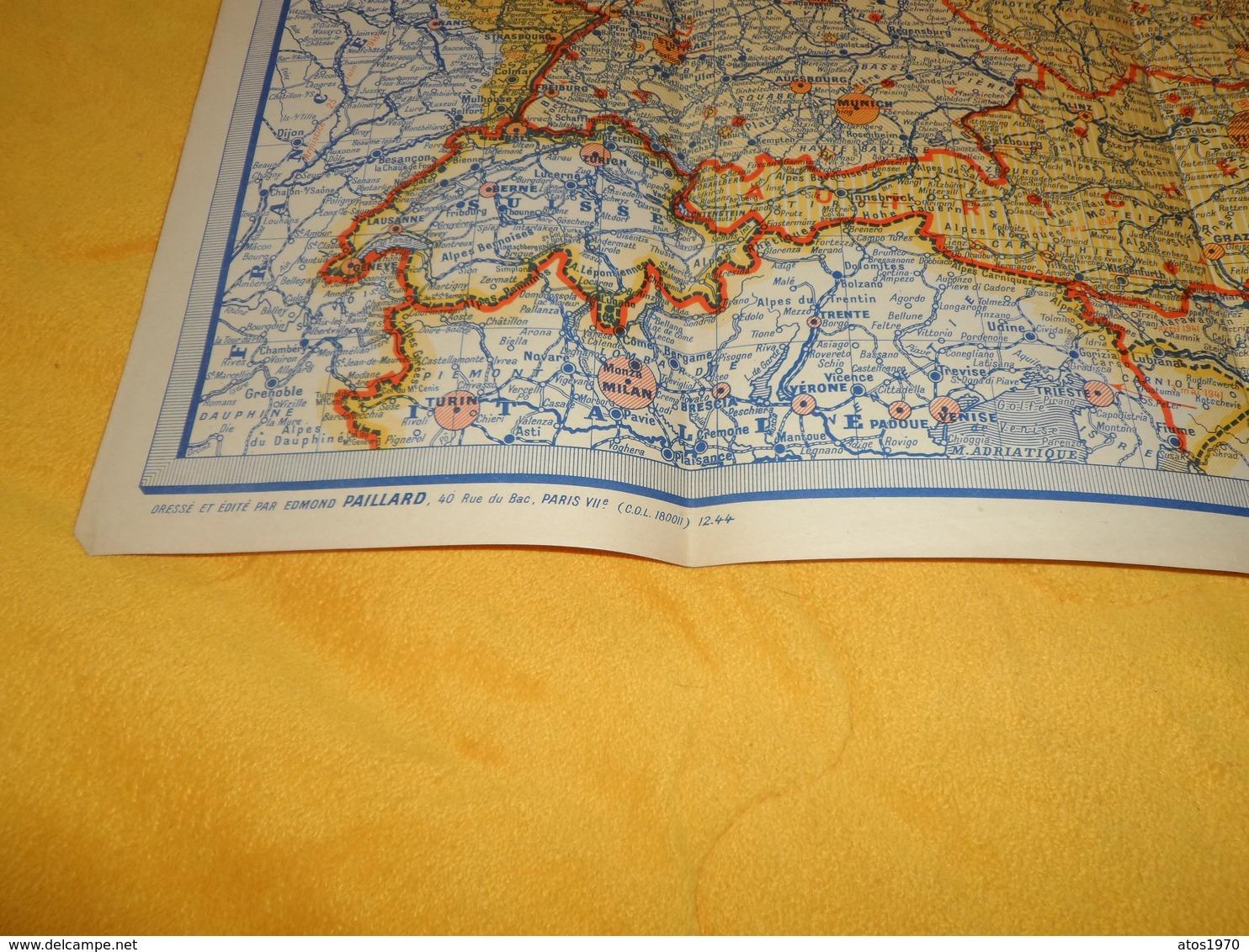 CARTE ANCIENNE ALLEMAGNE ET ETATS LIMITROPHES...EDITE PAR EDMOND PAILLARD PARIS VIIe...1944 ?.... - Cartes Routières