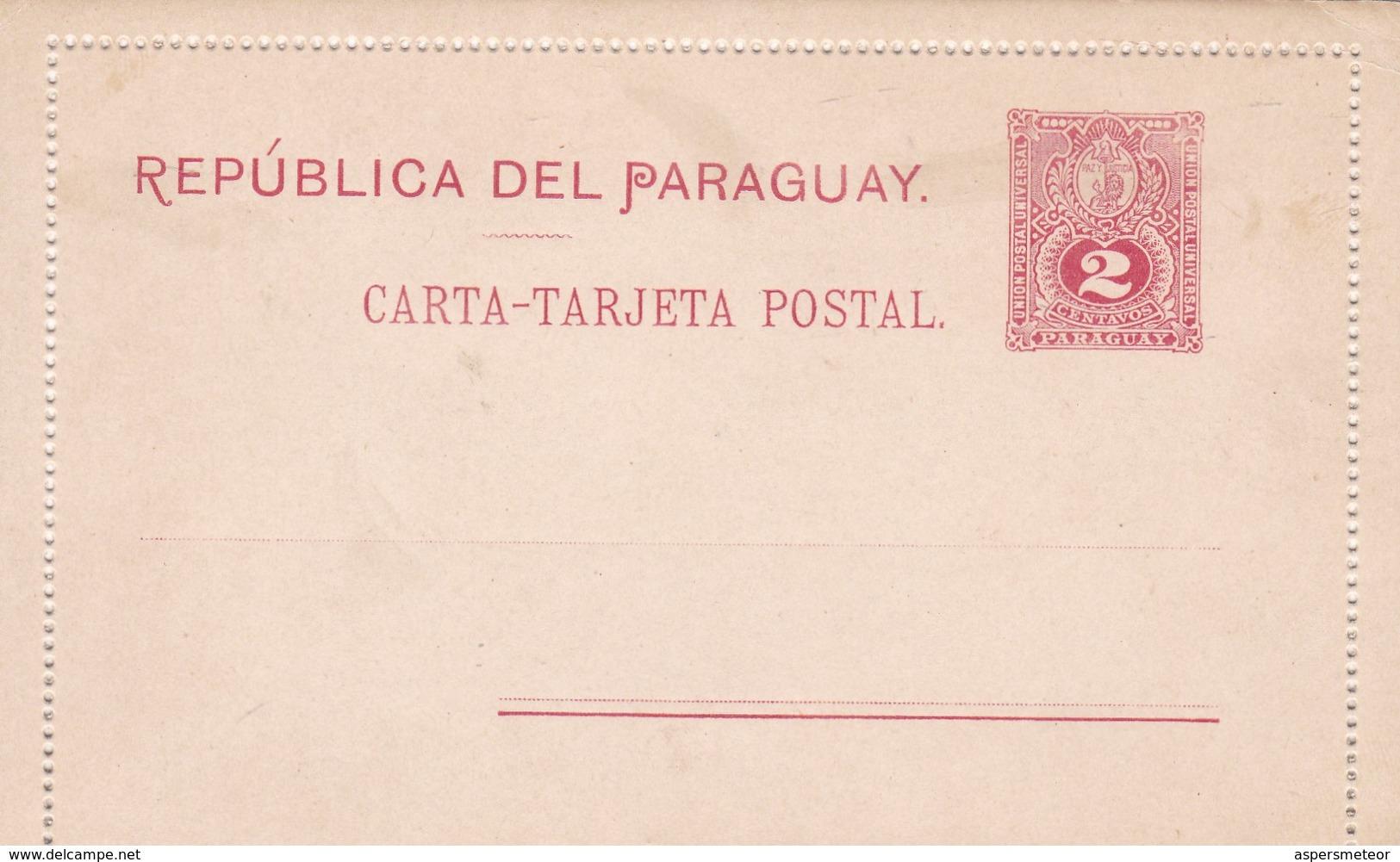 REPUBLICA DEL PARAGUAY CARTA TARJETA POSTAL 2 CTVS CIRCA 1900 STATIONERY ENTIER - BLEUP - Paraguay
