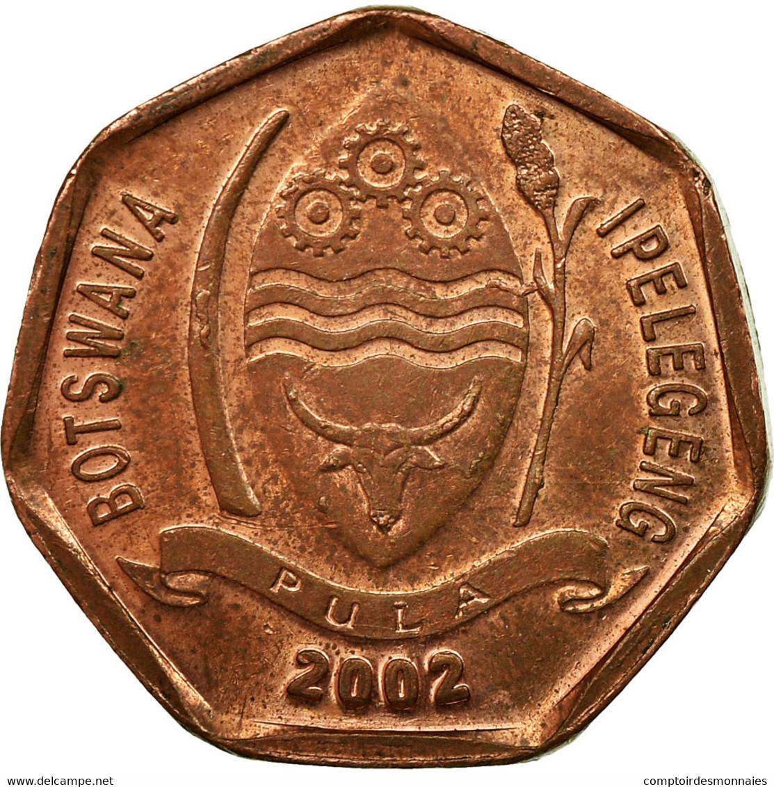 Monnaie, Botswana, 5 Thebe, 2002, British Royal Mint, TB, Copper Plated Steel - Botswana