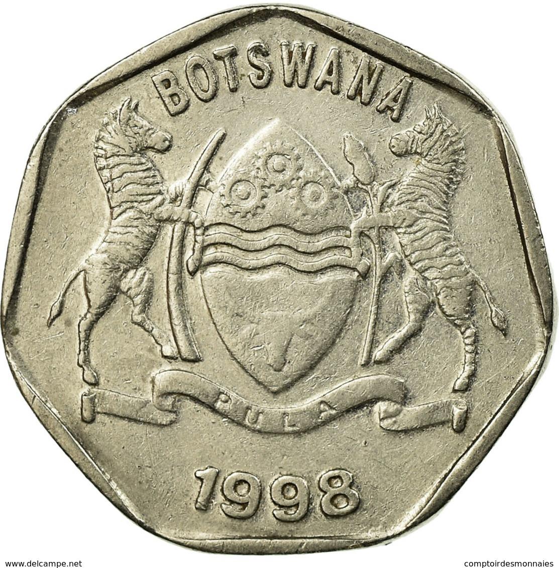 Monnaie, Botswana, 25 Thebe, 1998, British Royal Mint, TTB, Nickel Plated Steel - Botswana