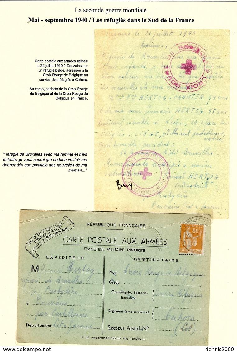 WWII - Les Réfugiés Dans Le Sud De La France -au Verso, Cachets Des Croix ROUGE Française Et Belge - Guerre De 1939-45