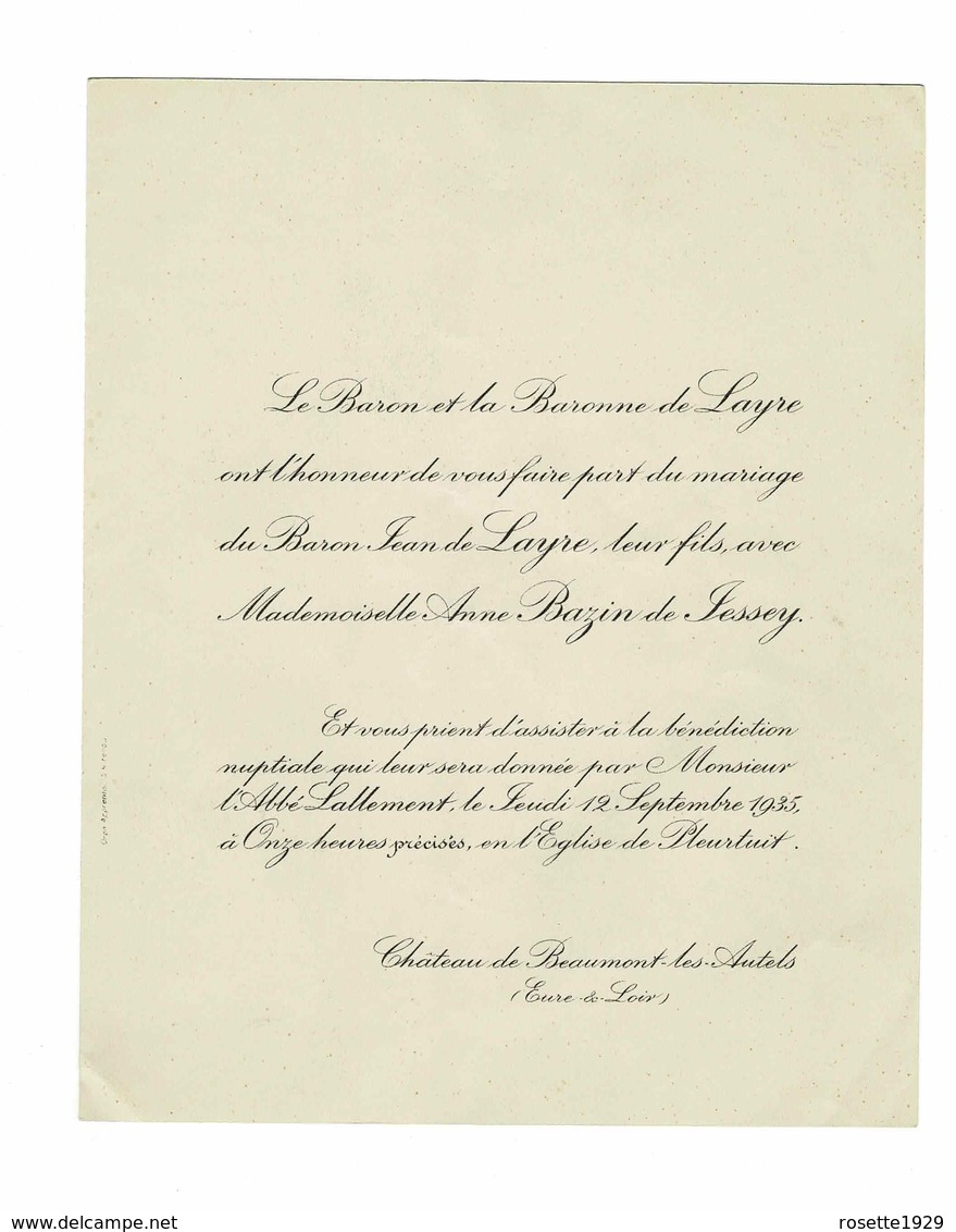 FAIRE PART DE MARIAGE CHATEAU DE BEAUMONT LES AUTELS EURE & LOIR - Mariage