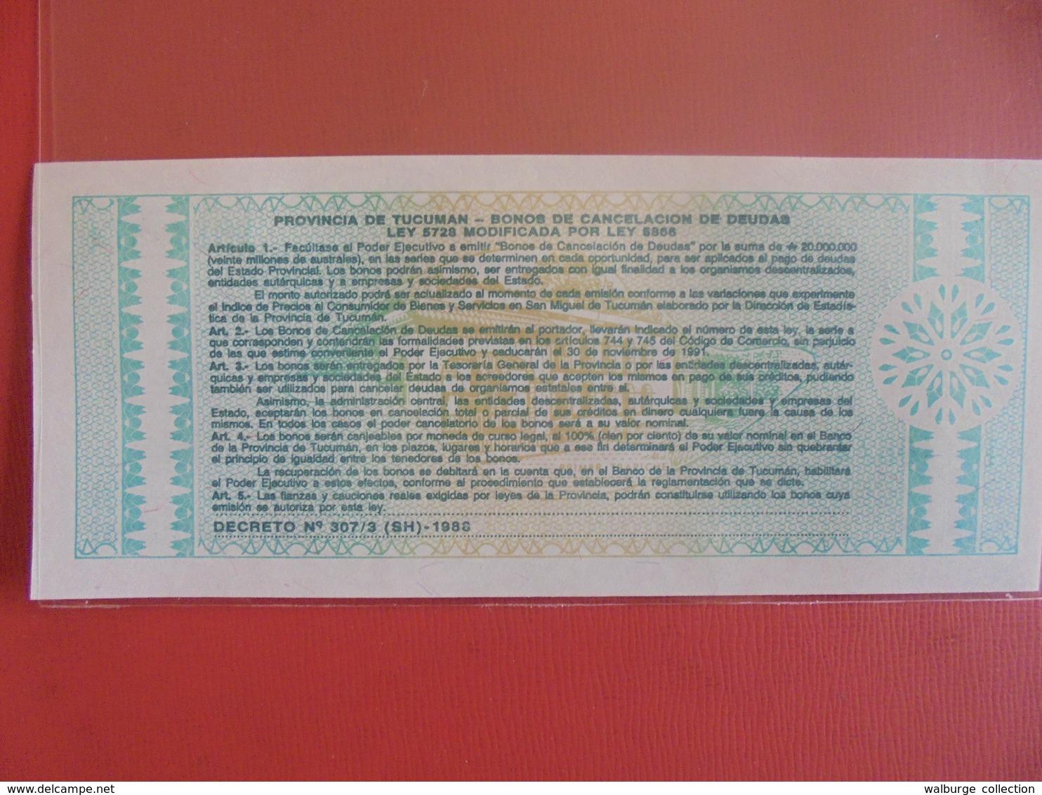 ARGENTINE(PROVINCE TUCUMAN) 1 AUSTRAL 1991 PEU CIRCULER/NEUF - Argentine