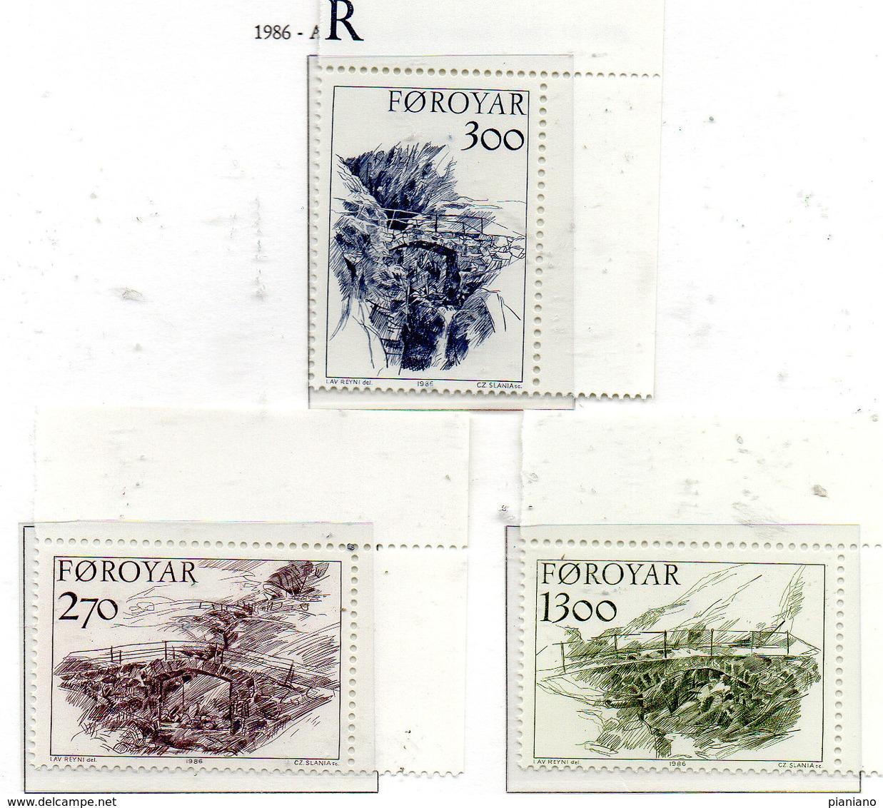 PIA  -  FAROER  -  1986  :  Vecchi  Ponti  -  (Yv 136-38) - Isola Di Man
