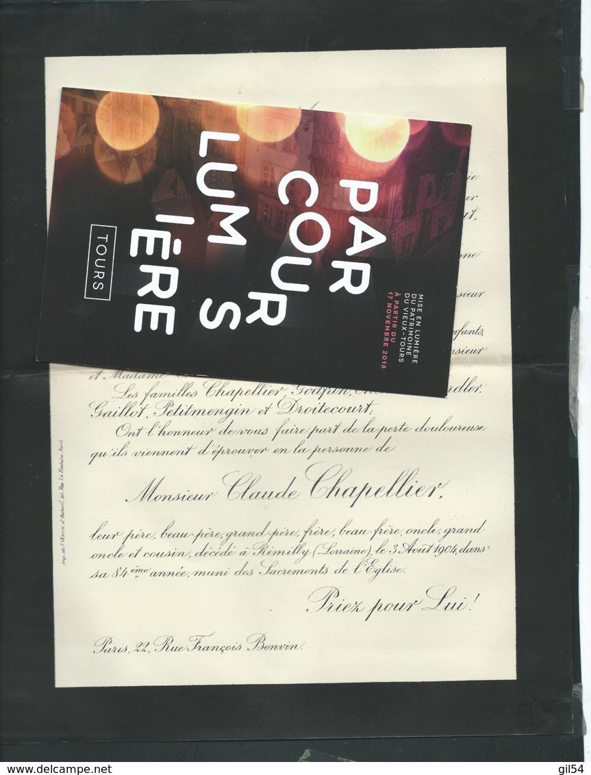 Paris - F.P. Décès De M Claude Chapellier Décéde à Remilly Le 3/08/1904  Fau7312 - Avvisi Di Necrologio