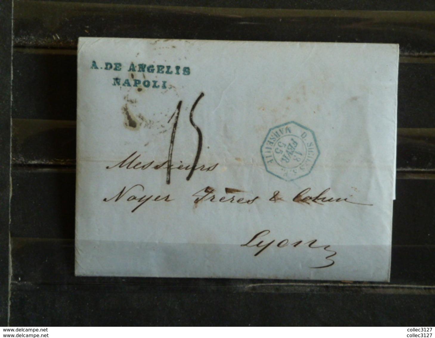 D1 - LAC De Napoli (Naples) à Lyon - 1855 - Marque Postale Cachet Hexagonal Bleu D. Siciles à Marseille - Italie