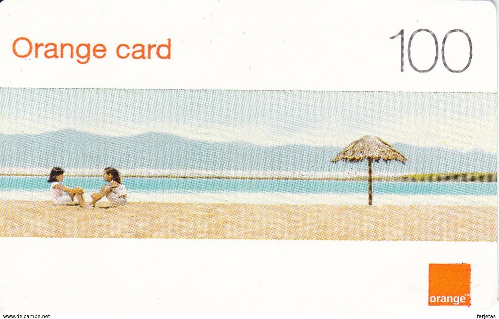 TARJETA DE LA REPUBLICA DOMINICANA  DE 100 UNITS DE ORANGE CARD (NIÑAS EN LA PLAYA) - Dominicana