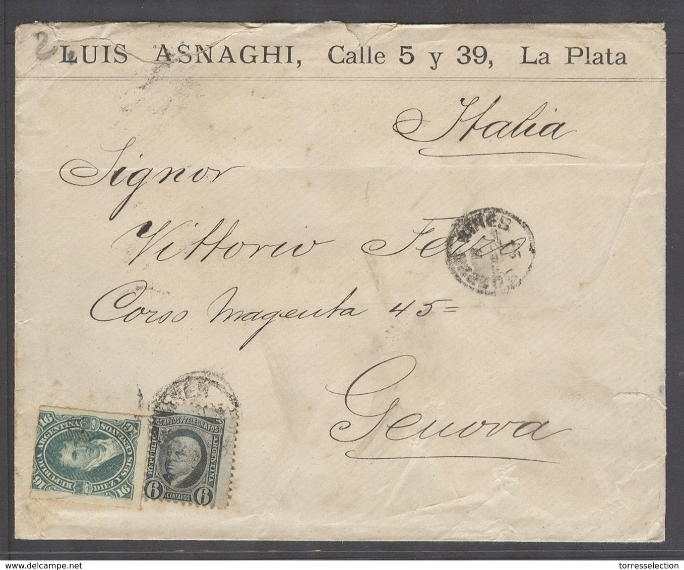 ARGENTINA. 1891 (24 Feb). La Plata, BA - Italy, Genoa (17 March). Fkd Env Bearing 16c Green ABN Perce 6c Mixed Issues Cd - Argentine