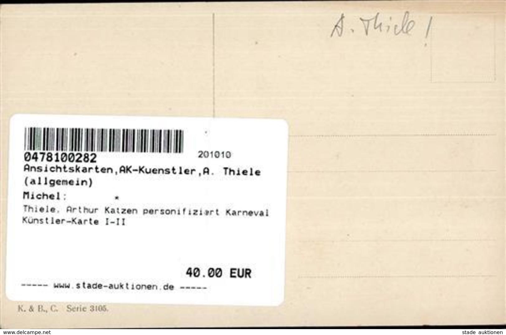 Thiele, Arthur Katzen Personifiziert Karneval Künstler-Karte I-II Chat - Thiele, Arthur