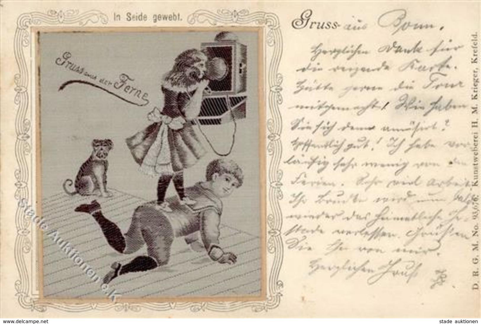 Seide Gewebt Kinder Telefon  Künstlerkarte 1899 I-II Soie - Ansichtskarten
