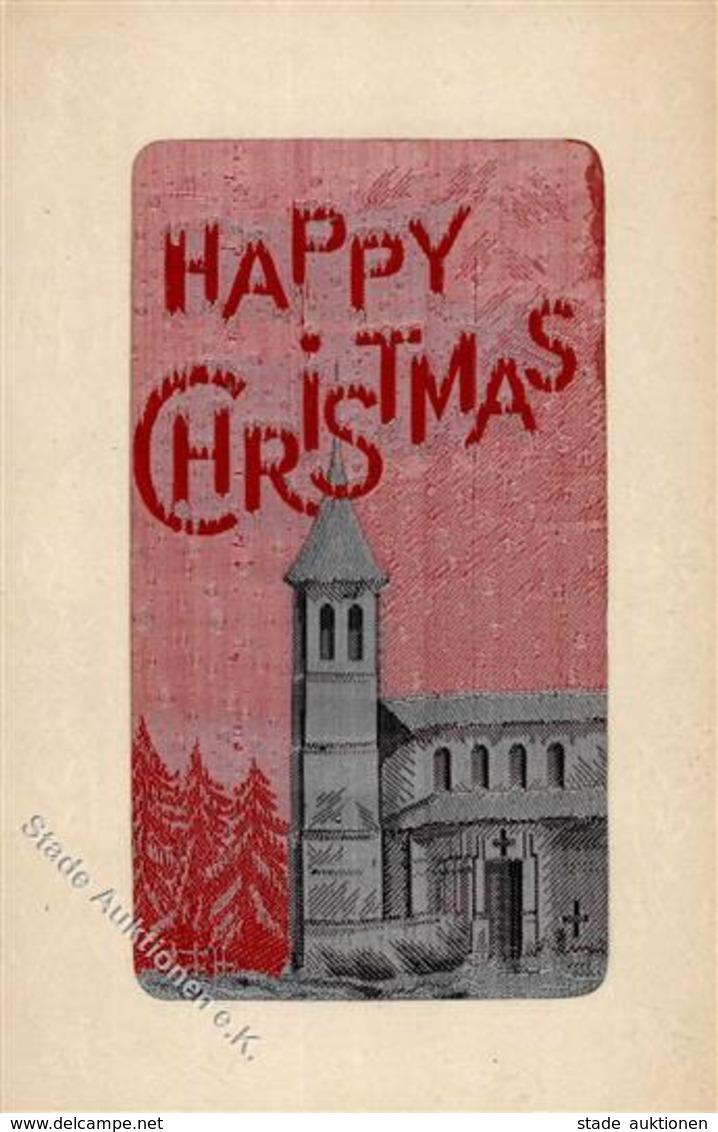 Seide Happy Christmas Künstlerkarte I-II Soie - Ansichtskarten