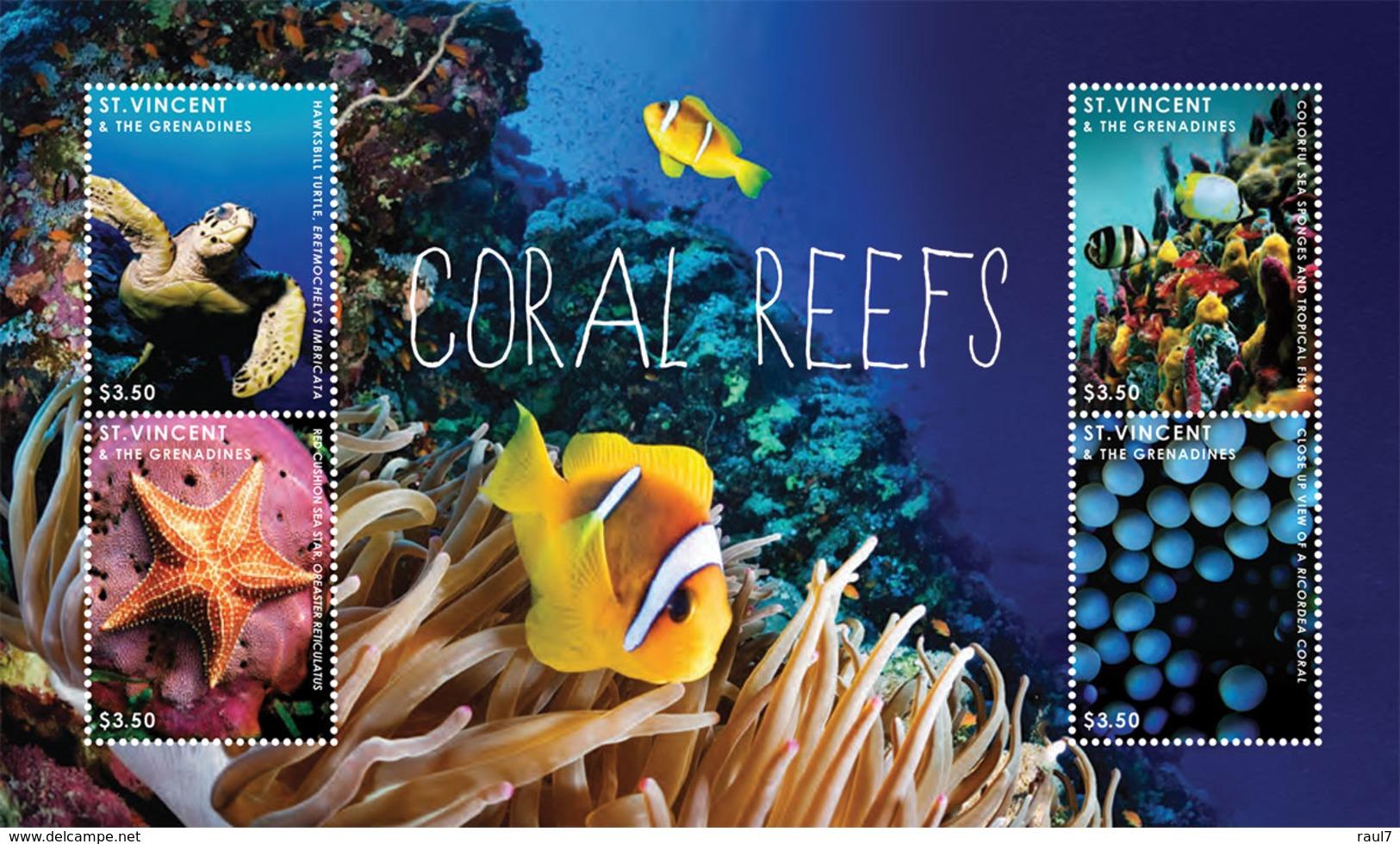 St Vincent 2013 - Faune Marine, Coraux, Tortues, étoile De Mer - BF 4 Val Neuf // Mnh - St.Vincent & Grenadines