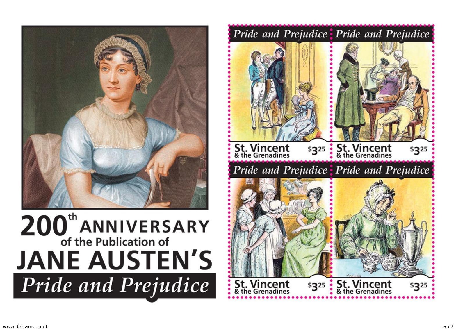 St Vincent 2013 - Littérature, Jane Austen's II - BF 4 Val Neuf // Mnh - St.Vincent & Grenadines