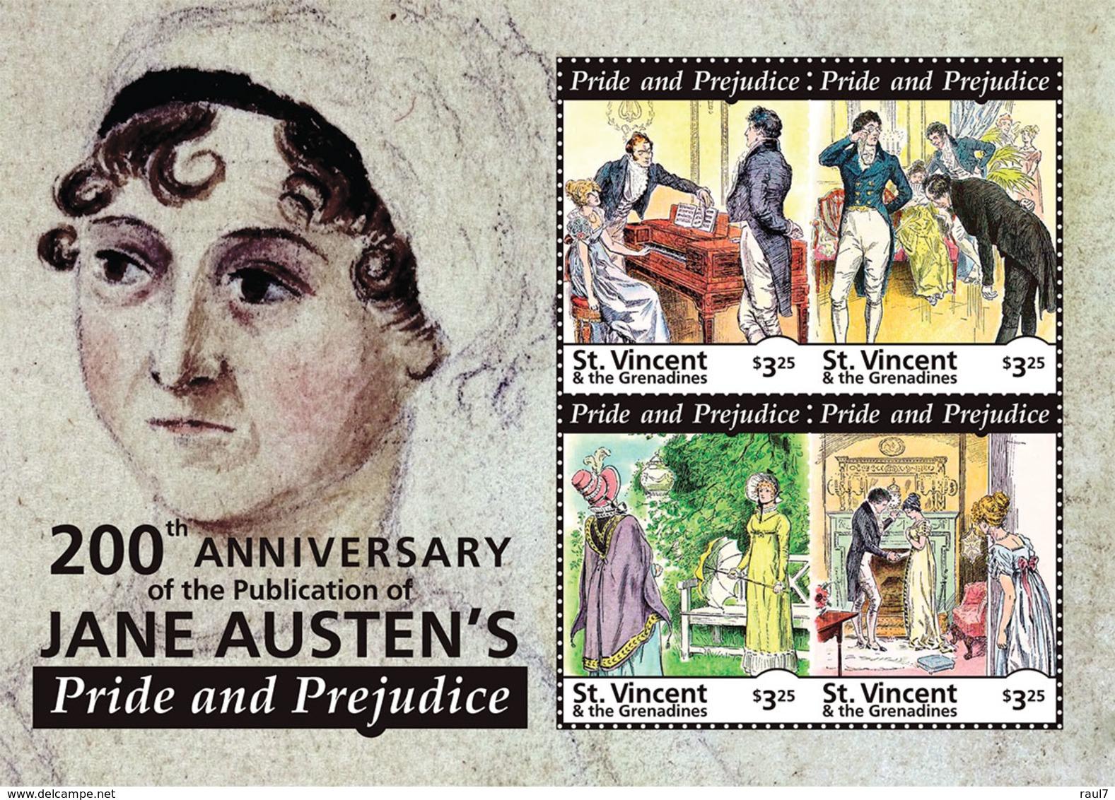 St Vincent 2013 - Littérature, Jane Austen's I - BF 4 Val Neuf // Mnh - St.Vincent & Grenadines
