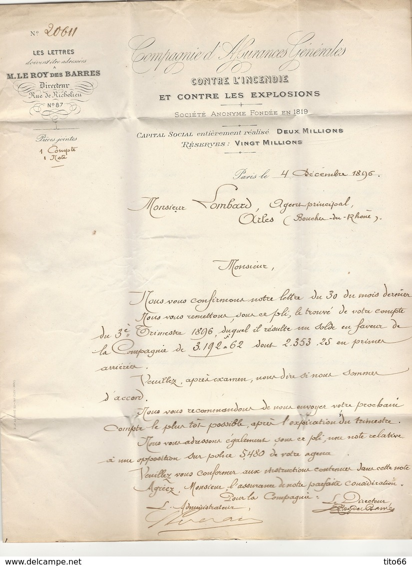 Sage 101 X 2 Sur Lettre Entête Assurance Incendie Et Explosions TAD Place De La Bourse 4/12/1896 Vers Arles - Postmark Collection (Covers)