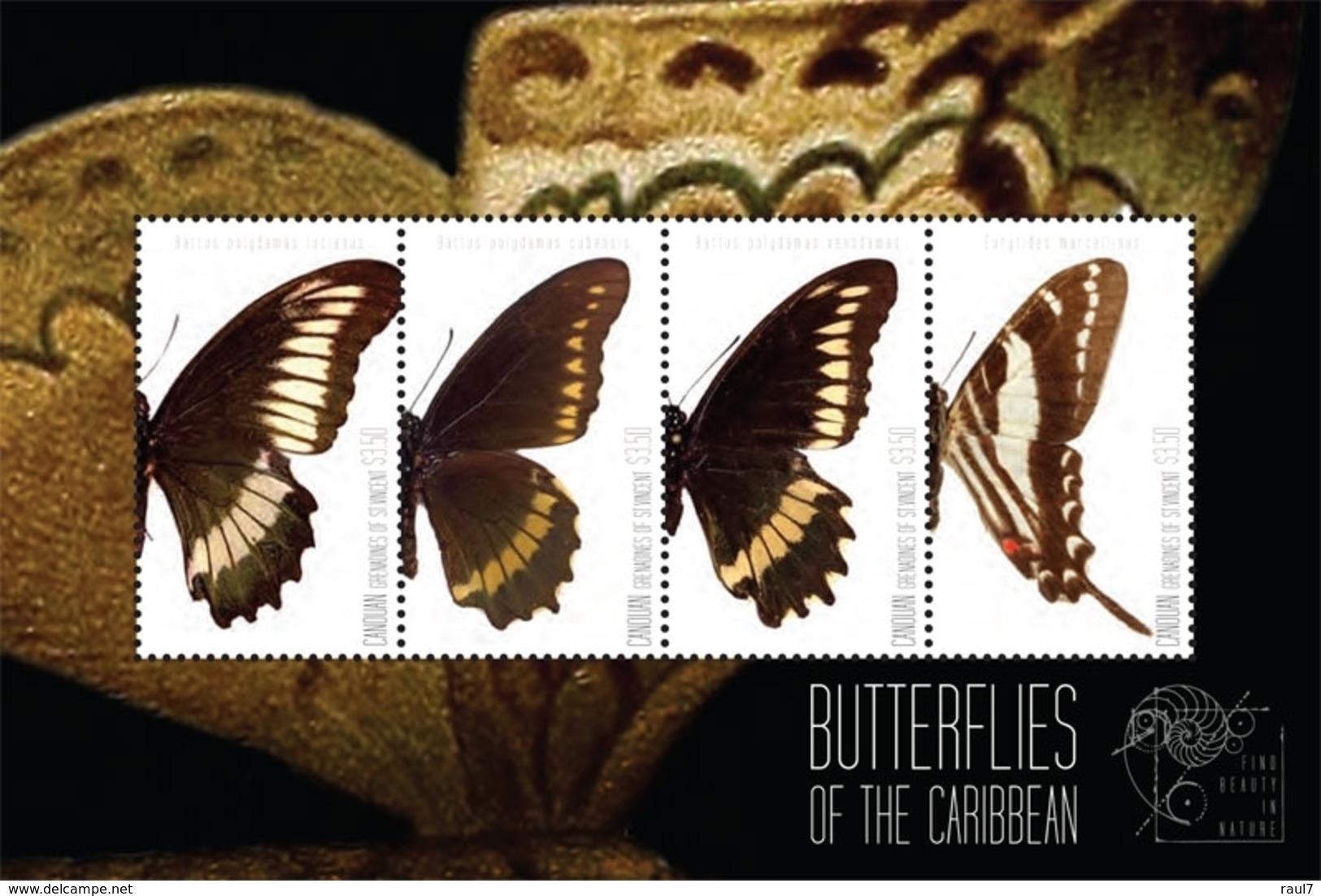 St Vincent (Canouan) 2011 - Faune, Papillons Des Caraïbes - BF 4 Val Neuf // Mnh - St.Vincent & Grenadines