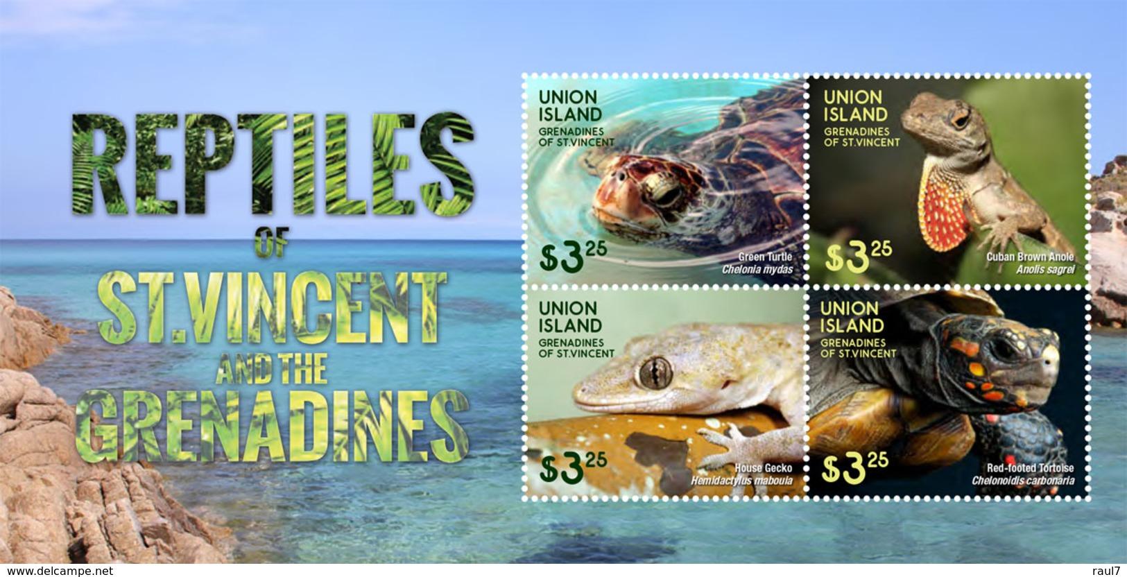 St Vincent (Union Island) 2015 - Faune, Reptiles Des Caraïbes, Tortues Et Lézards - BF 4 Val Neuf // Mnh - St.Vincent & Grenadines