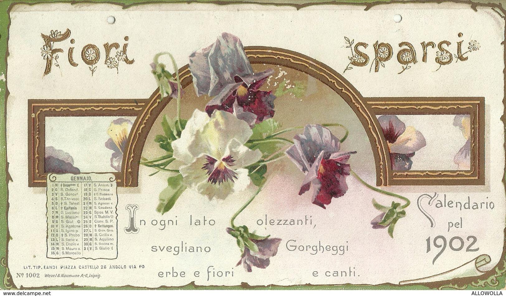 """3387 """" FIORI SPARSI-CALDENDARIO DEL 1902 """" INCOMPLETO-SOLO MESE DI GENNAIO-ORIGINALE - Calendari"""