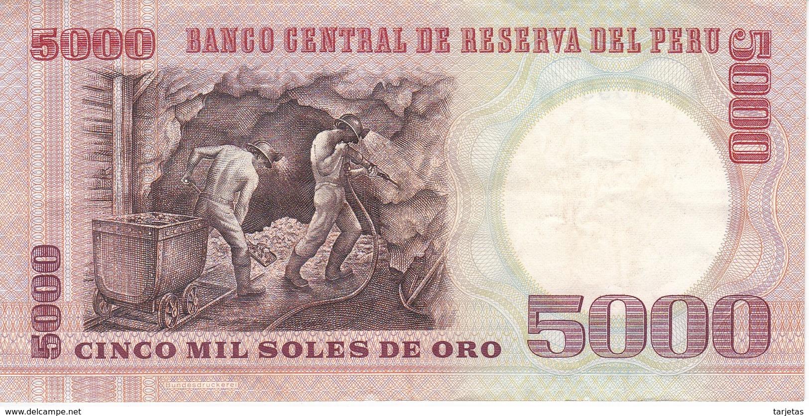 BILLETE DE PERU DE 5000 SOLES DE ORO DEL AÑO 1985 EN CALIDAD EBC (XF) (BANK NOTE) - Perú