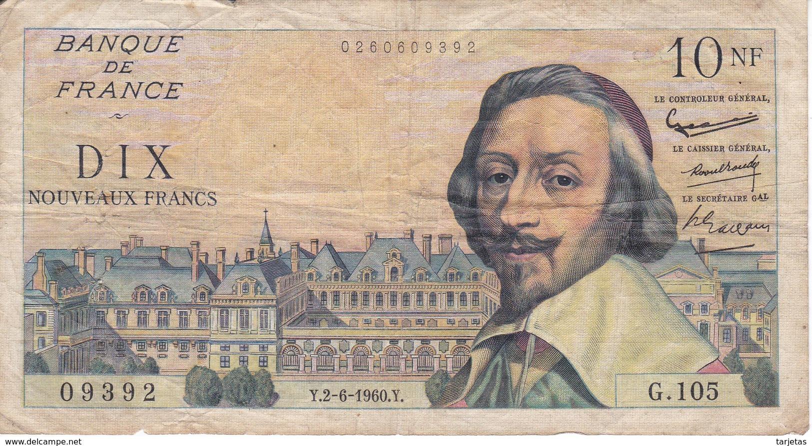 BILLETE DE FRANCIA DE 10 FRANCOS DEL 2-6-1960 RICHELIEU (BANKNOTE) - 1959-1966 Francos Nuevos