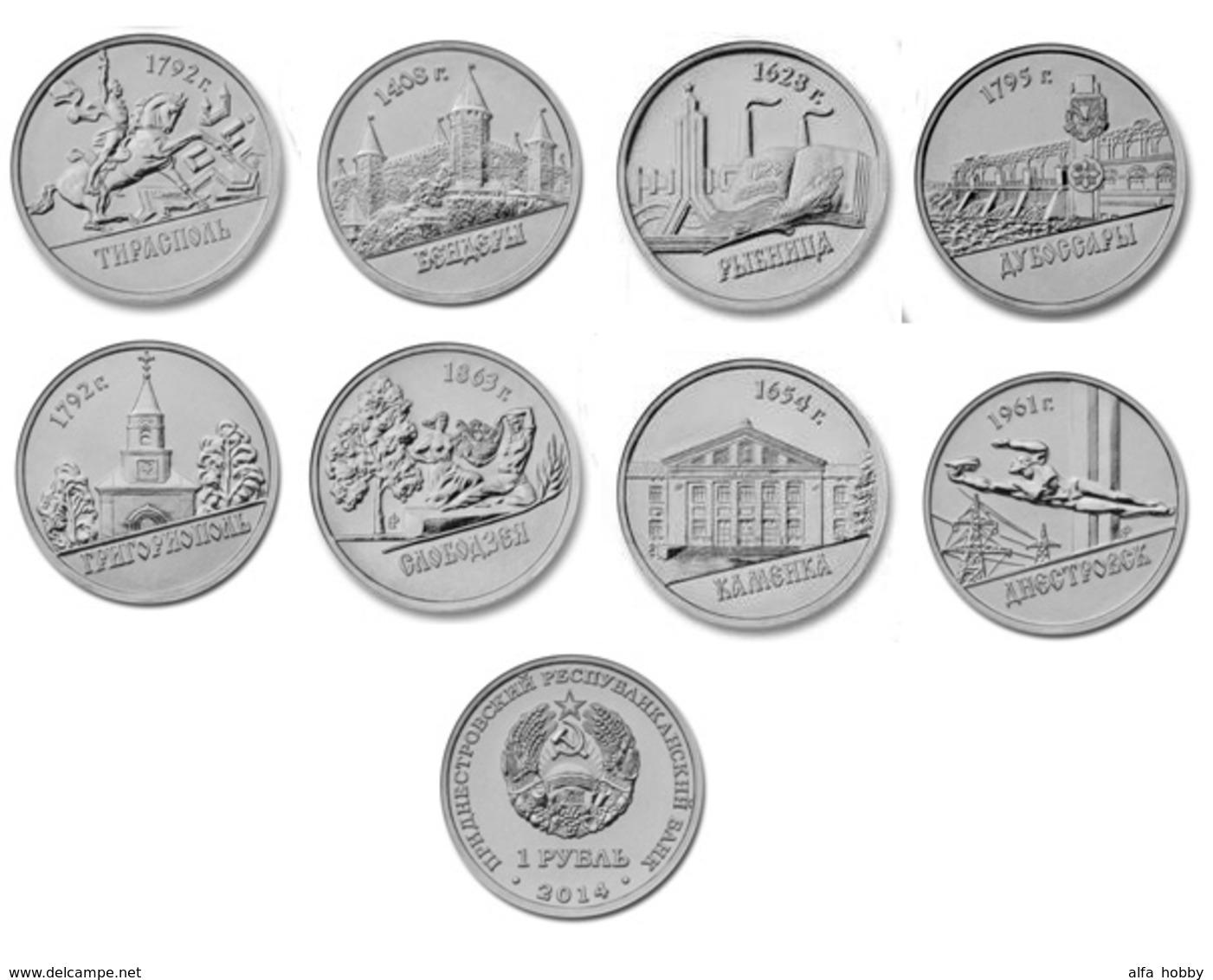 Transnistrija, 2014, Cities, Set Of 8 Coins X 1 Rubel Unc - Russland