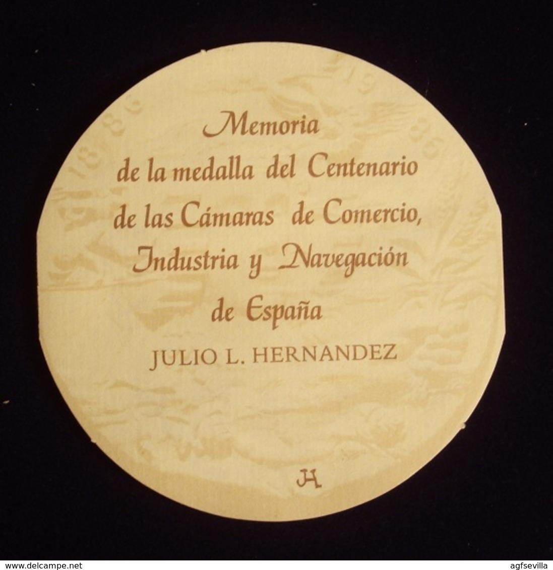 ESPAÑA. MEDALLA 100 AÑOS CÁMARAS DE COMERCIO, INDUSTRIA Y NAVEGACIÓN. 1.986. C/ CAJA Y FOLLETO. ESPAGNE. SPAIN MEDAL - Professionals/Firms