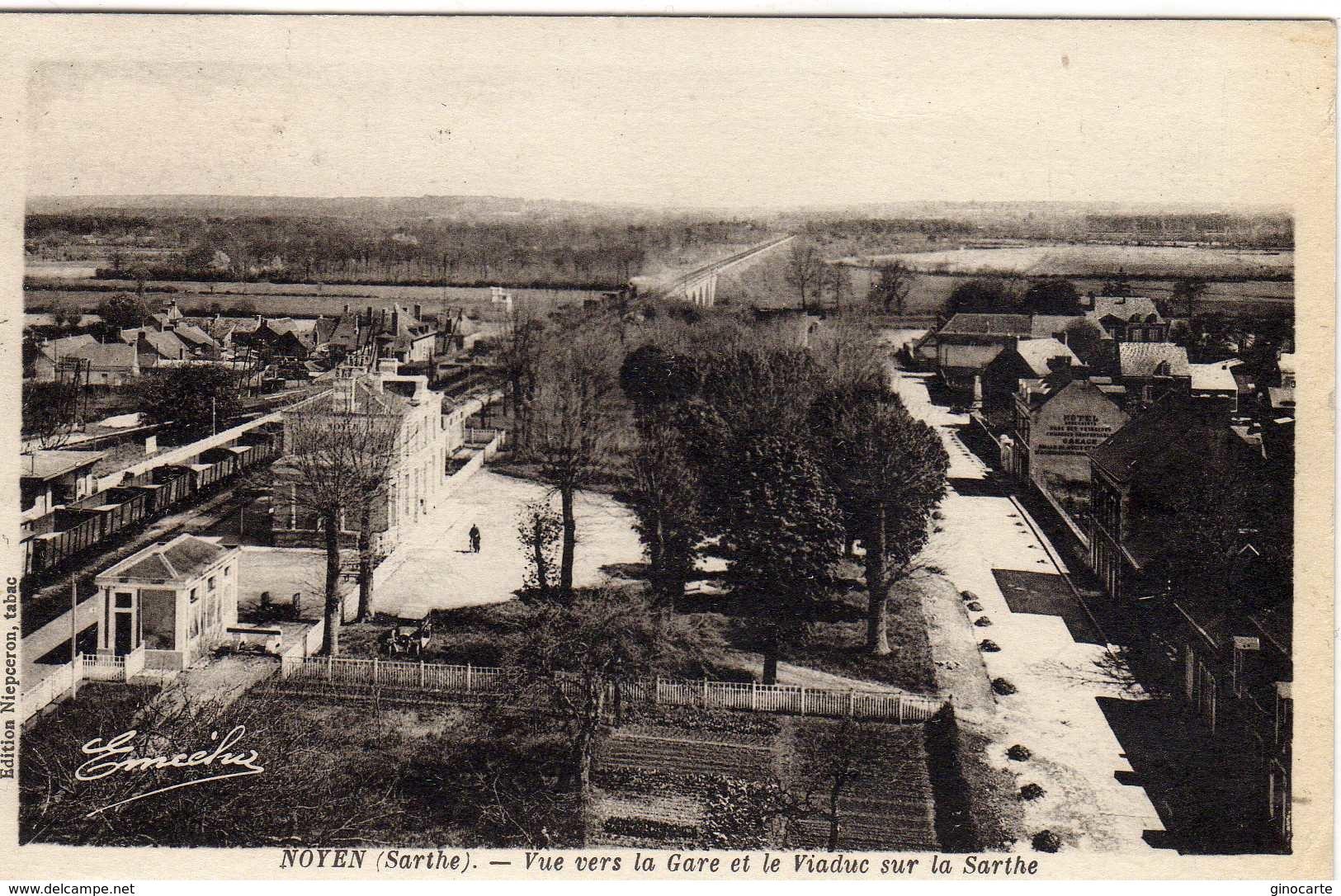 Noyen Sur Sarthe Vue Vers La Gare Et Le Viaduc - France