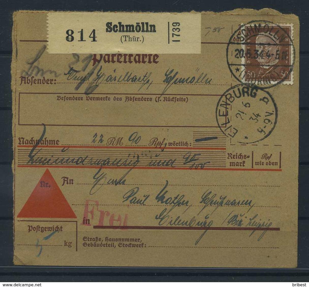 Paketkarte 1934 SCHMOELLN Siehe Beschreibung (115228) - Deutschland