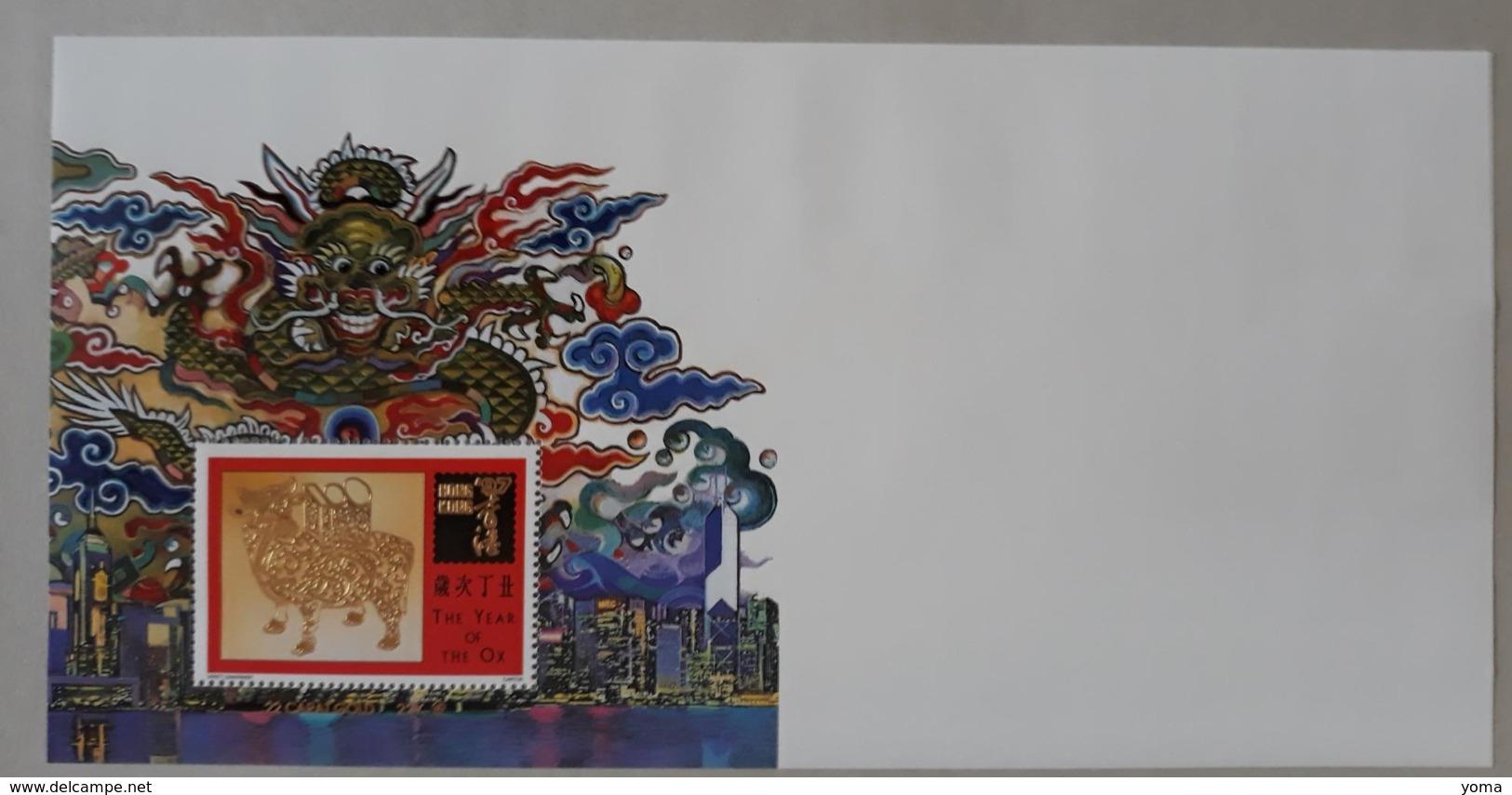 Année Du Boeuf Du 12.02.1997 Avec Un Feuillet Neuf - 1997-... Région Administrative Chinoise