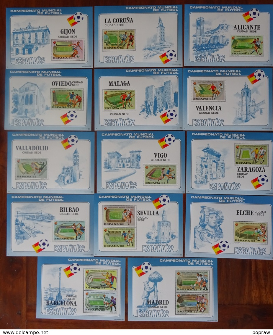 #CAJ-4#  14 CINDERELLA SHEETS OF MUNDIAL 82 SPAIN. MNH**. SOCCER, FOOTBALL. THE 14 TOWNS. - World Cup