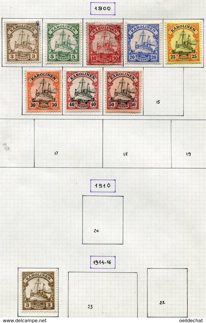 12594  CAROLINES (Colonie  Allemande)  N° 7/14, 21      *  1900 - 14   B/TB - Micronésie
