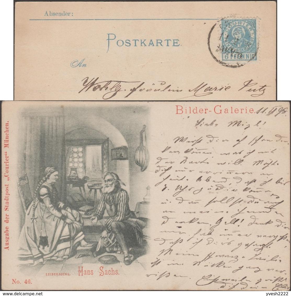 München 1898. Poste Privée Courier De Munich. Hans Sachs, Poète, Apprenti Cordonnier, Jeux De Carnaval, Luth Au Mur Cage - Musique