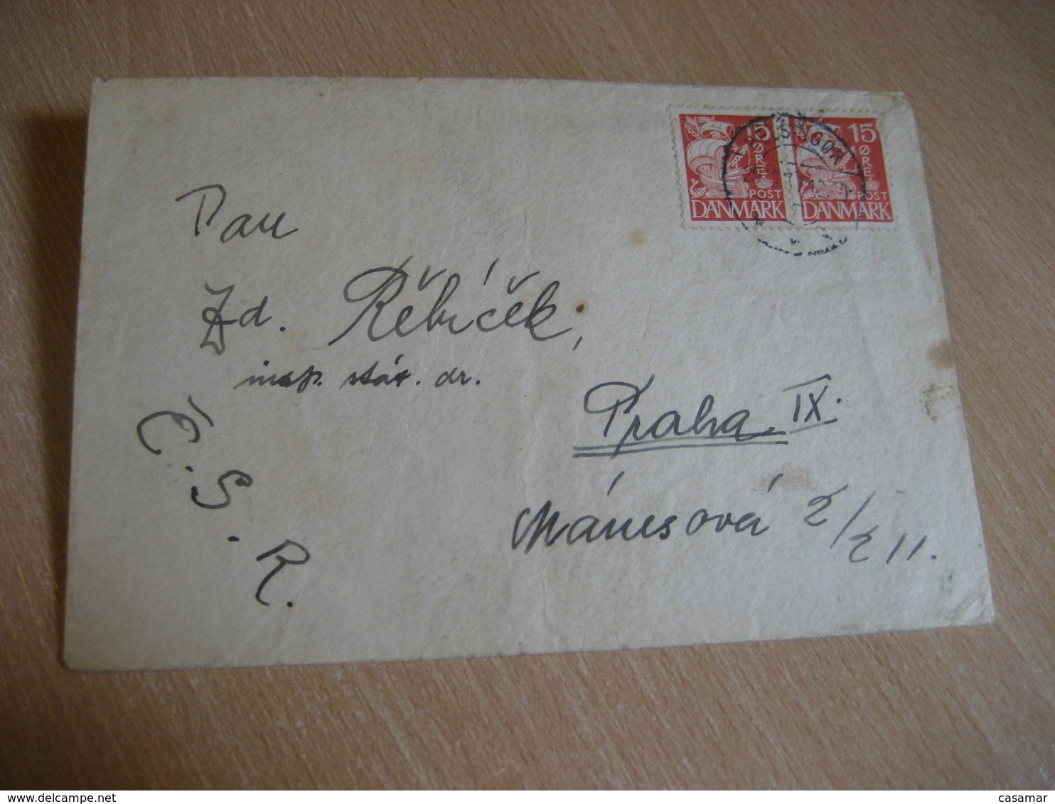 HELSINGOR 1937 ? To Praga Czechoslovakia Pair 2 Stamp On Cancel Cover DENMARK - 1913-47 (Christian X)