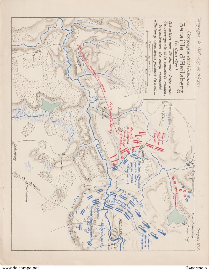 8 Napoléon 1806/07 Plan Bataille D'Heilsberg - Historical Documents