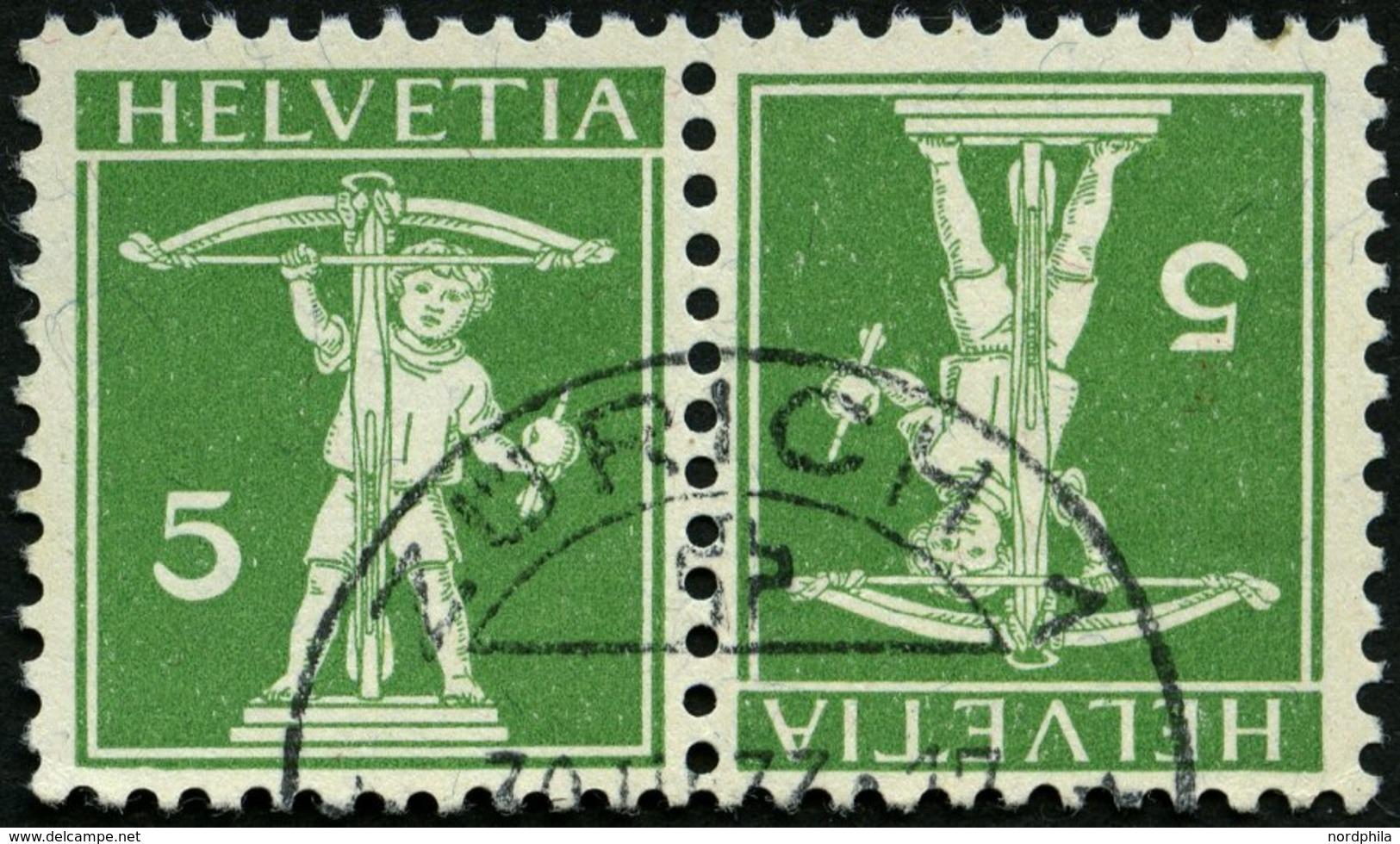ZUSAMMENDRUCKE K 5I O, 1909, Tellknabe Kehrdruck 5 + 5, Type I, Pracht, Mi. 80.- - Se-Tenant