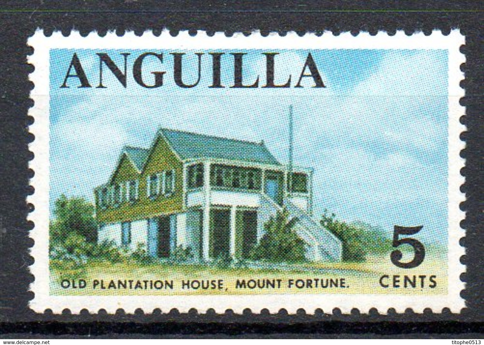 ANGUILLA. N°5 De 1967-68. Old Plantation House. - Anguilla (1968-...)