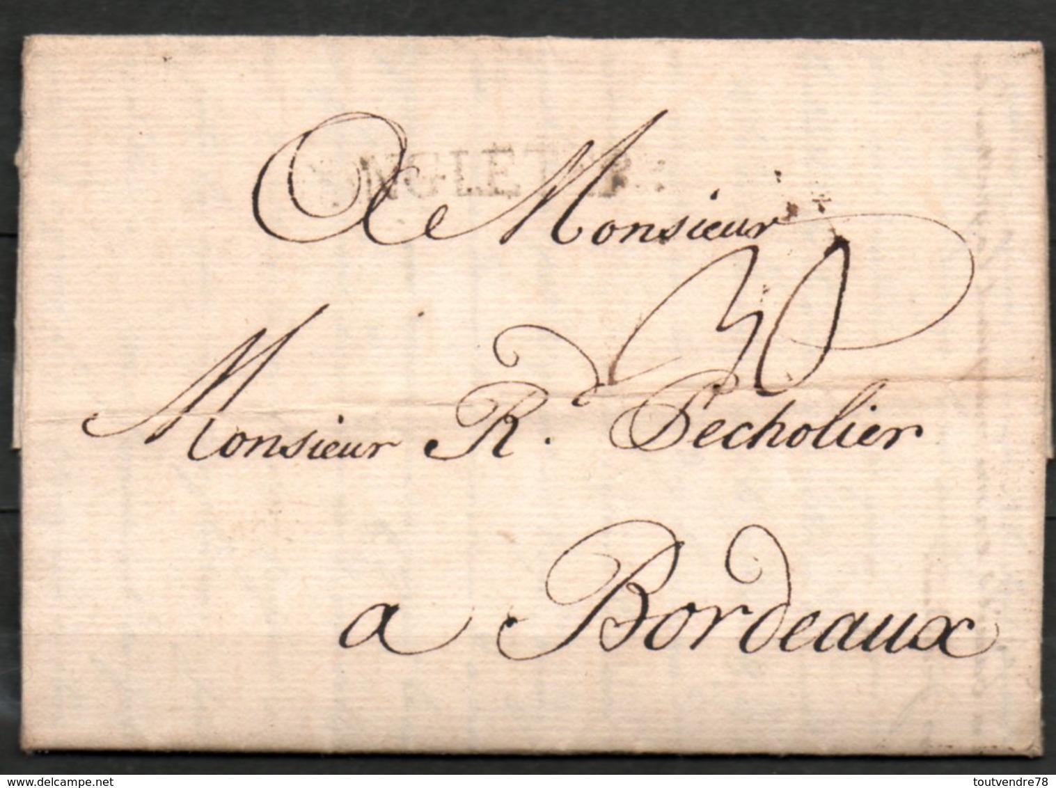 MP33-09 : D'Angleterre 1762 Pour Bordeaux Dept 33 (Gironde) Taxe Manuscrite 30 - Marcophilie (Lettres)