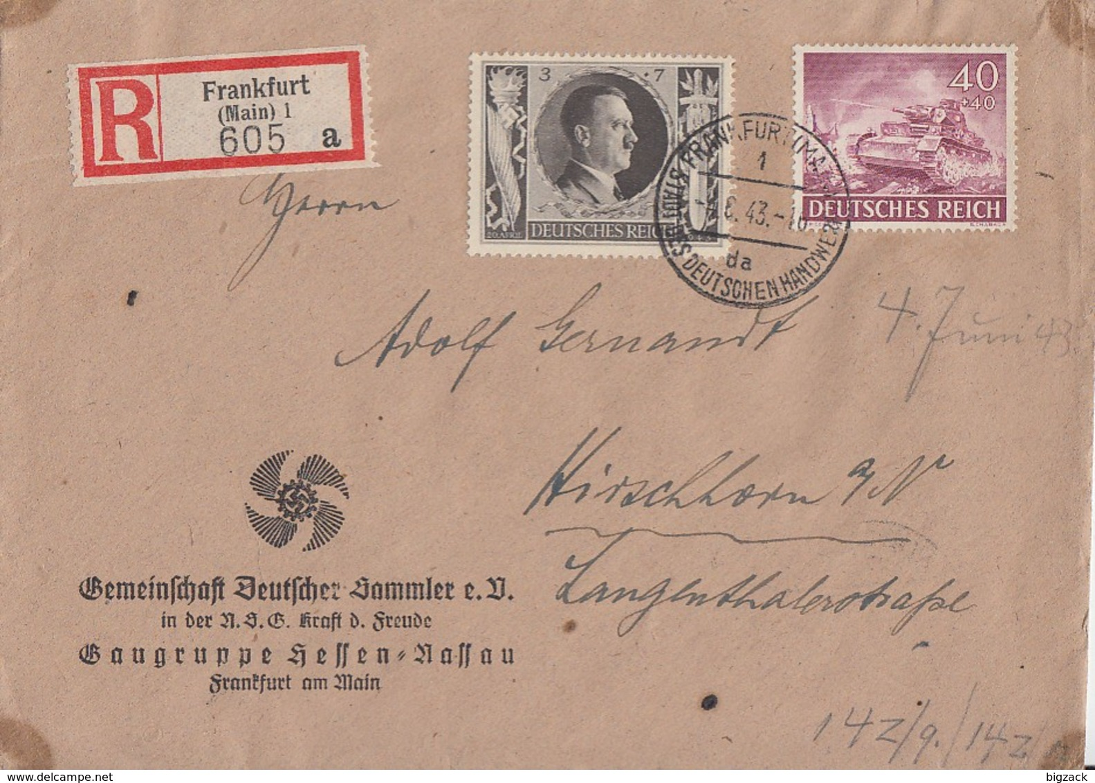 DR R-Brief Mif Minr.841,844 Frankfurt 4.6.43 - Germany