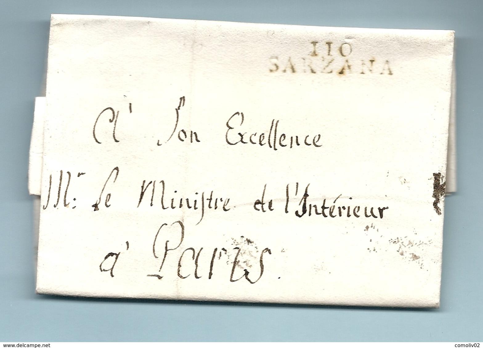 Département Conquis Des Appenins - Sarzana Pour Le Ministre De L'intérieur à Paris. Franchise - Marcophilie (Lettres)