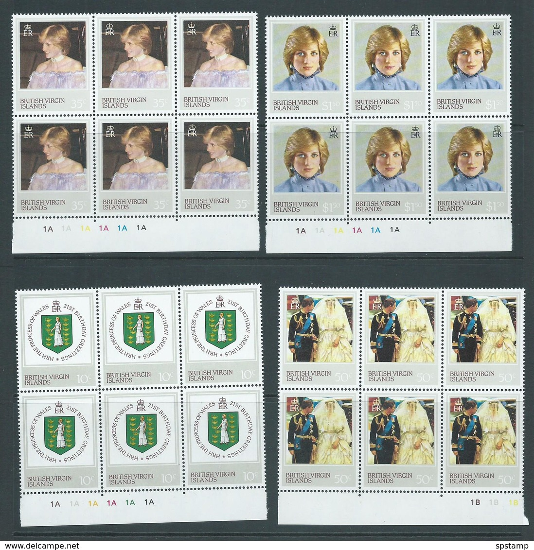 British Virgin Islands 1982 Princess Diana 21st Birthday Set 4 Plate Number Blocks Of 6 MNH - British Virgin Islands