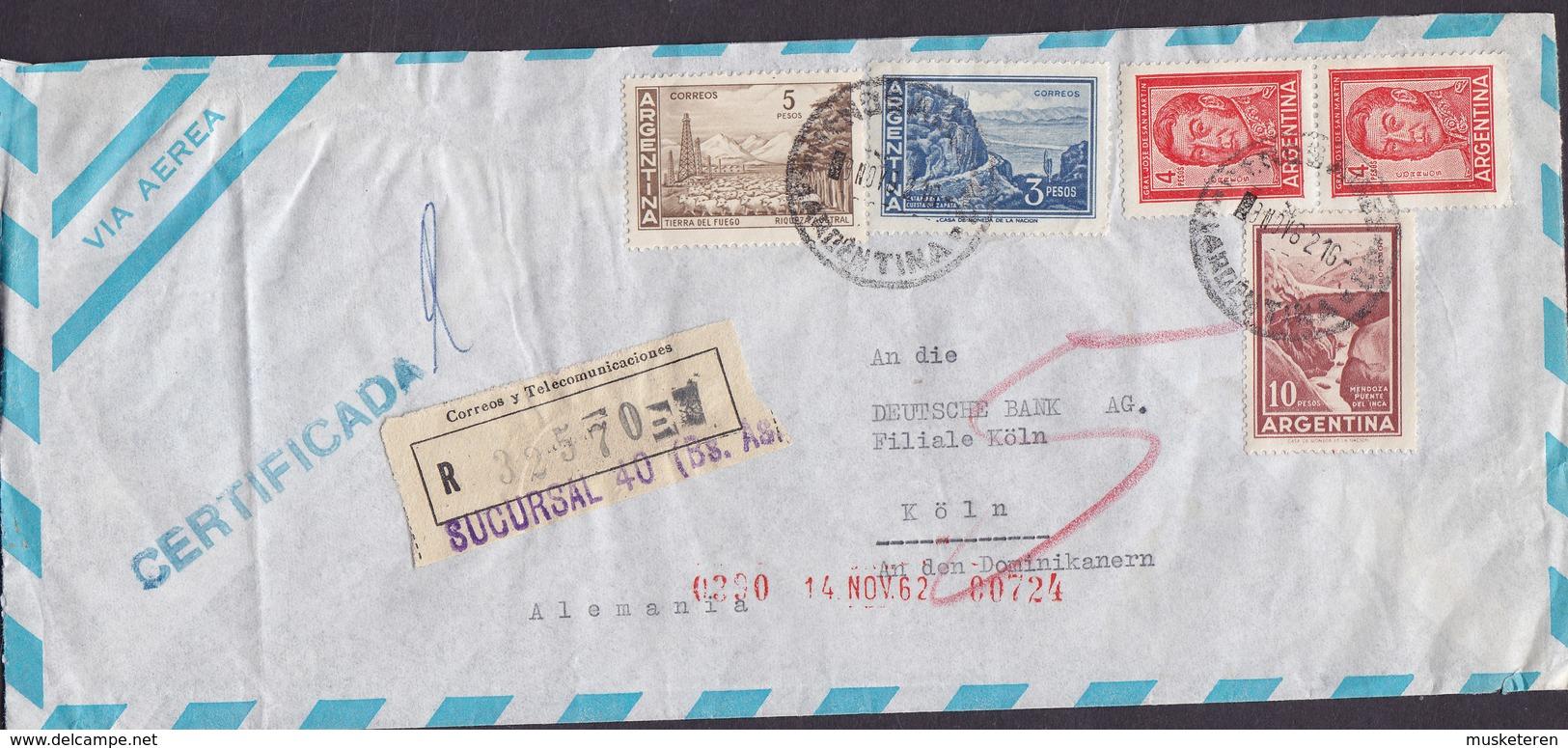 Argentina Via Aerea Registered Certificada Label SUCURSAL (40.) 1962 Cover Letra DEUTSCHE BANK Germany San Martin - Argentinien
