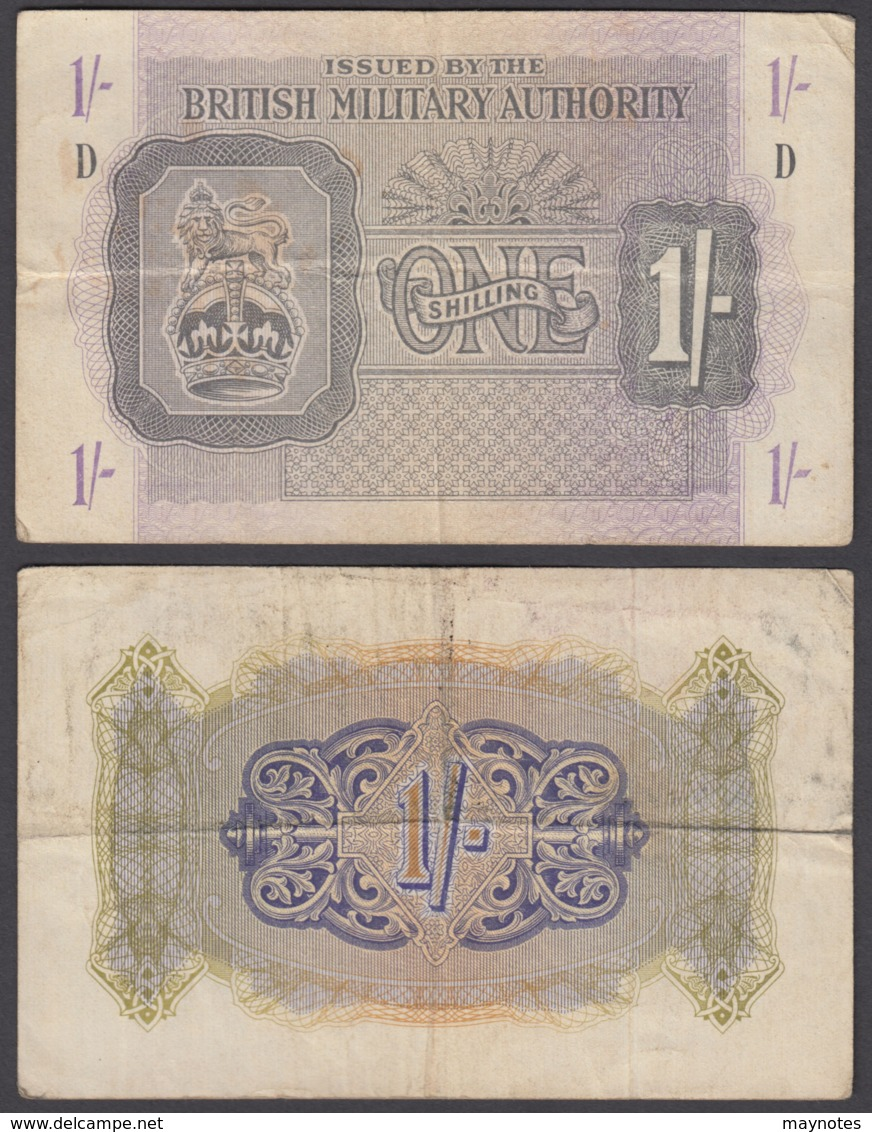 Great Britain 1 Shilling 1943 (VF) Condition Banknote P-M2 WWII - Military Issues