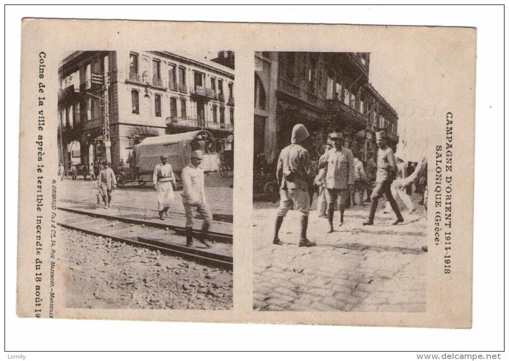 Militaire Militaria Guerre 1914 1918 Campagne D' Orient Grece Salonique Coins De La Ville Après Incendie Du 18 Aout 1917 - Guerre 1914-18