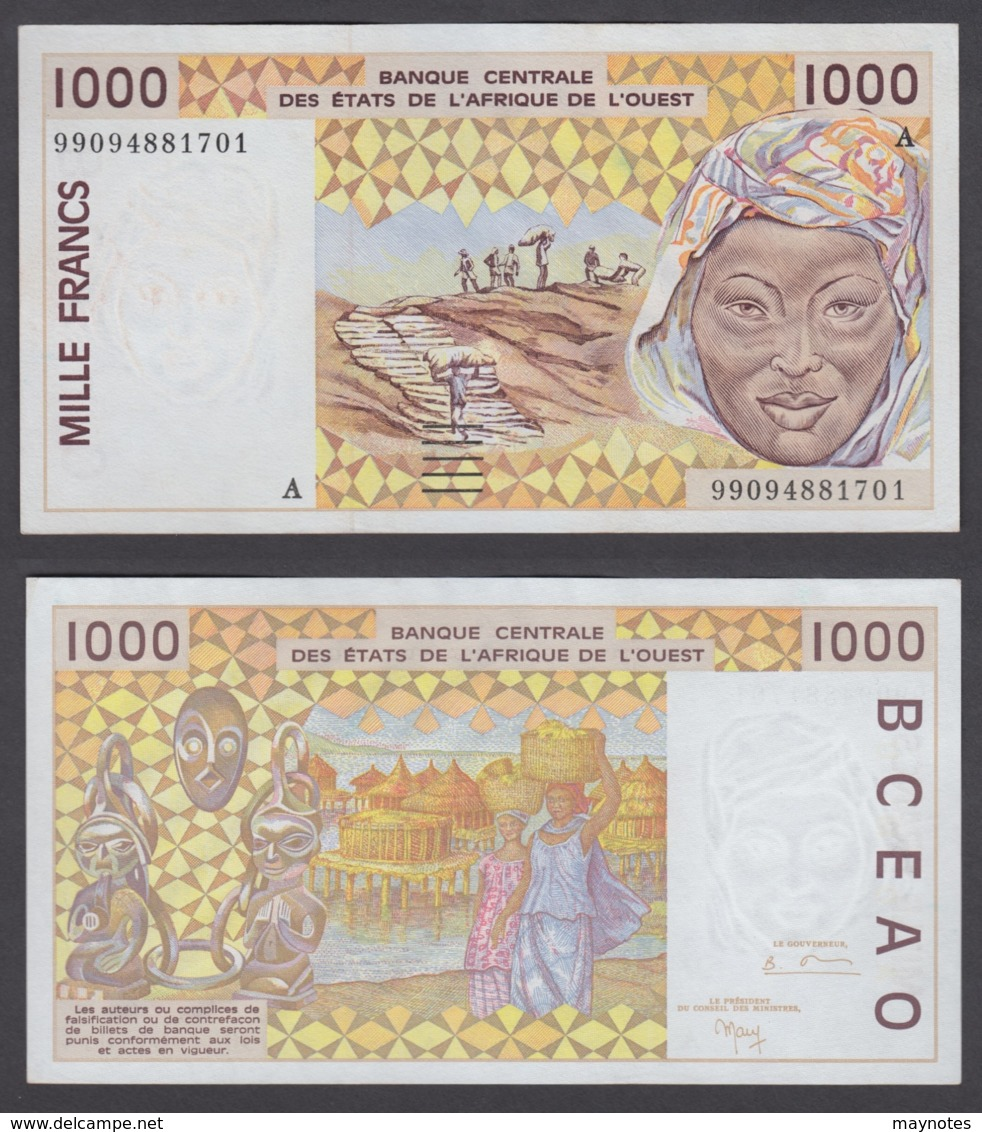 West African States 1000 Francs 1999 (XF-AU) CRISP Banknote P-111A - West African States