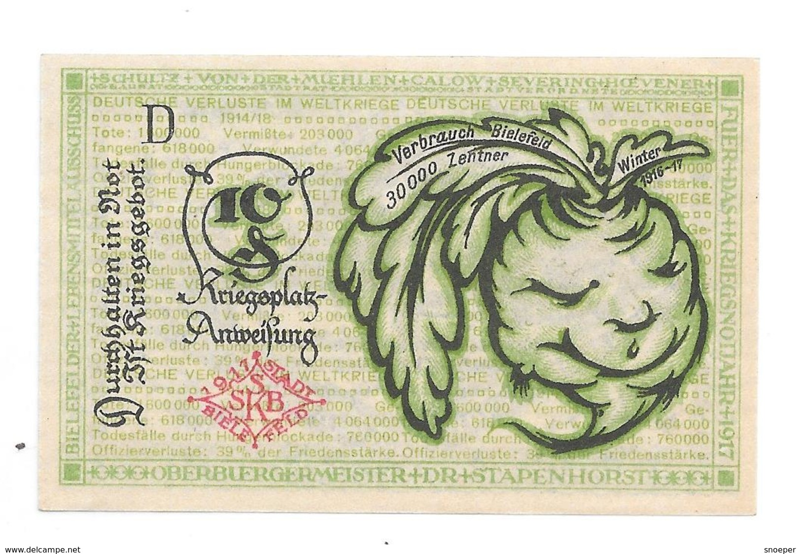 **notgeld Bielefeld 10 Pfennig B 44.8 - [11] Local Banknote Issues